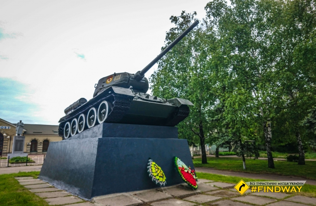 Monument T-34 and Koptsov V.A., station Likhachovo, Pervomaiskiy