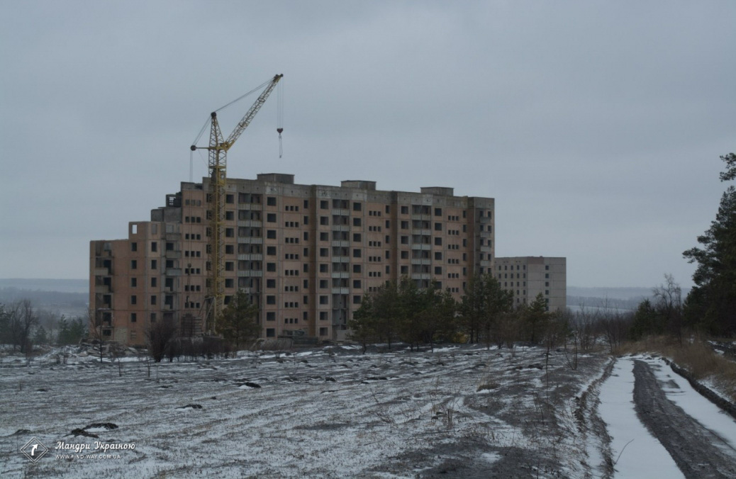 Deserted buildings in Borki (Unfinished nuclear power plant)