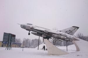 SU-7BM fighter-bomber, monument to pilots-liberators, Krasnohrad