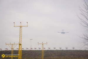 Path of airplanes landing on airport, Kharkiv