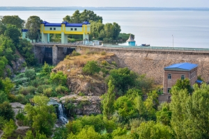 Railway bridge with a panorama on waterfall and dam of Karachuniv reservoir, Kryvyi Rih