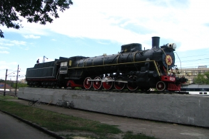 Monument for a steam locomotive FD20 at South Station (Kharkiv)